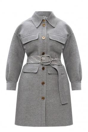 Wool coat with belt od Fendi