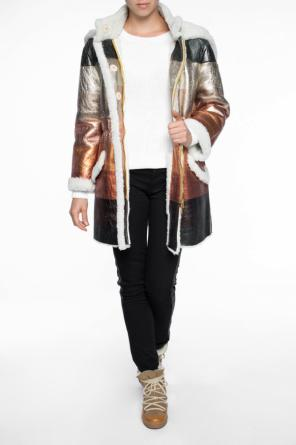 Hooded sheepskin coat od Fendi