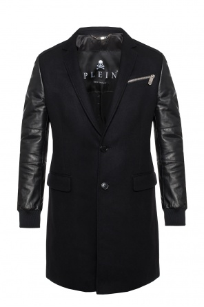 Coat with leather sleeves od Philipp Plein