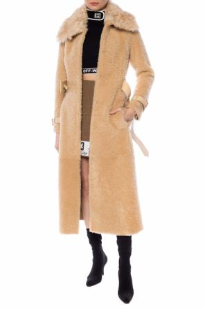 Fur coat with a waist belt od Off White