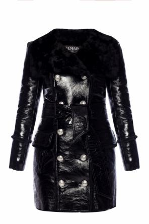 Fur-trimmed double-breasted coat od Balmain