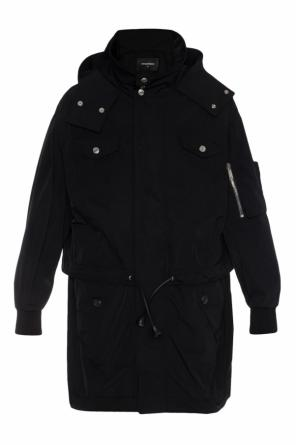 Oversize parka with band collar od Dsquared2