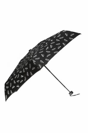 Folded umbrella with a pattern including a logo od Moschino