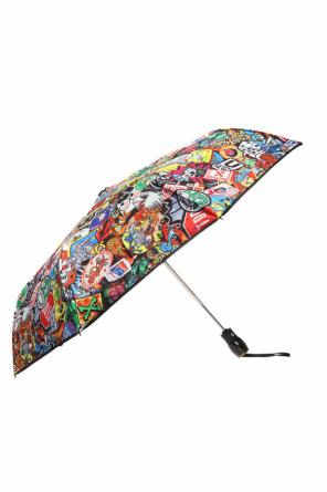 Patterned umbrella with a logo od Moschino