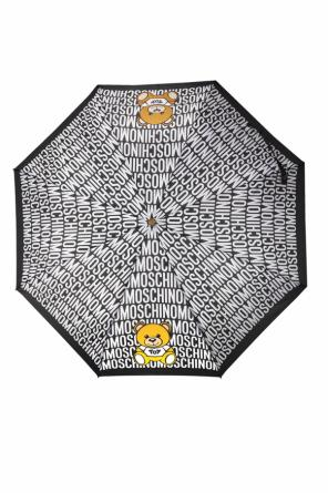 Folded umbrella with a print and logo od Moschino