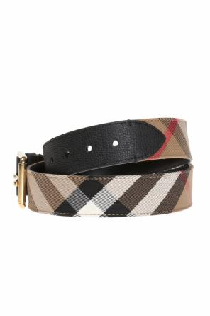 Check-trim leather belt od Burberry