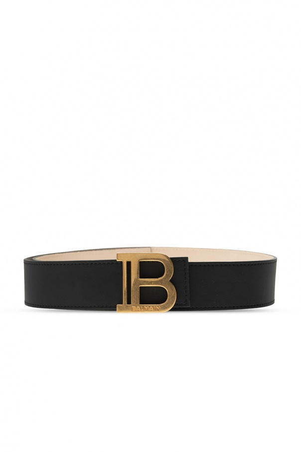 Balmain Leather belt with logo