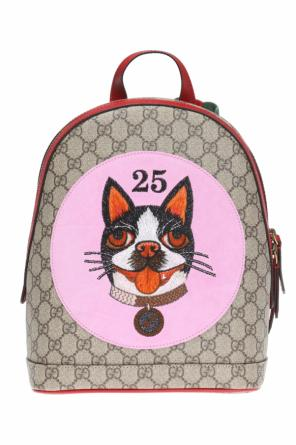 'boston terrier bosco' patched backpack od Gucci