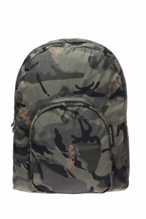 Camo backpack with skeleton motif od Alexander McQueen