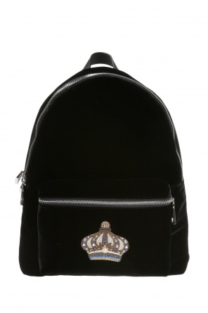 Appliquéd velvet backpack od Versace