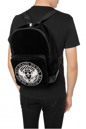 Velvet backpack with a logo od Balmain