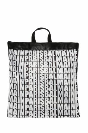 Backpack with a pattern and logo od Balmain