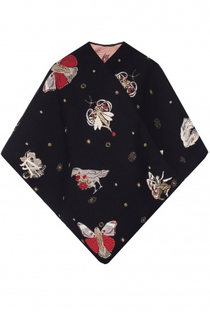 Poncho with an embroidered pattern od Alexander McQueen