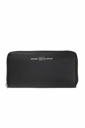 Zip 24'  wallet with inscriptions and a logo od Diesel