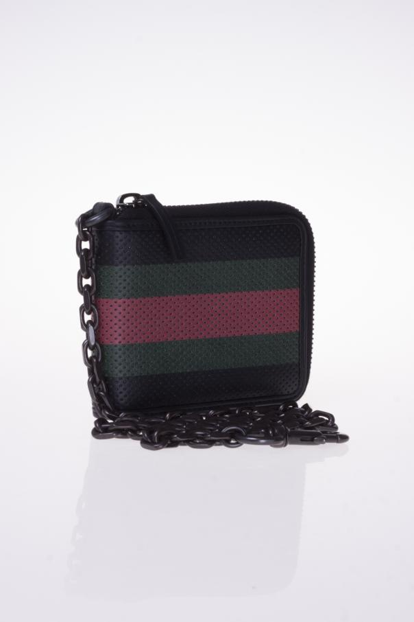 8d80a9a4e78 Perforated leather  Web  chain wallet Gucci - Vitkac shop online