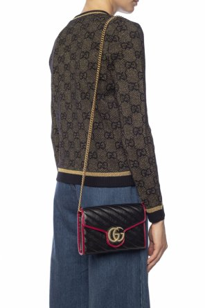 'marmont' quilted shoulder bag with logo od Gucci