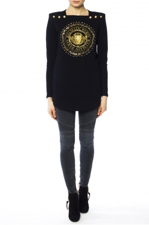 Logo-embroidered long sweater od Balmain