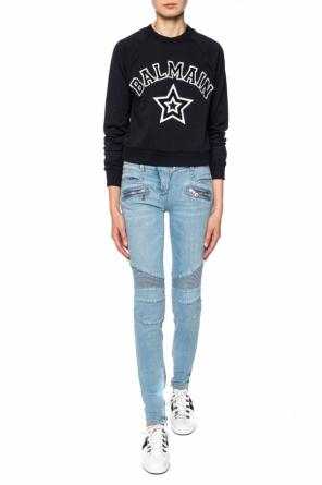 Sweatshirt with a logo and a star motif od Balmain