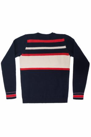Sweater with openwork logo od Gucci Kids