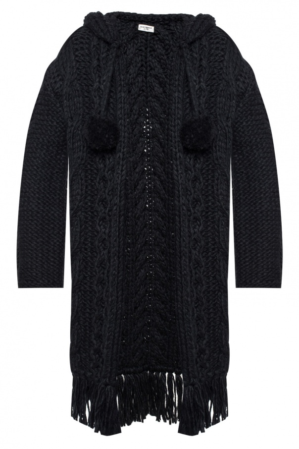 fa0878a7beacf Hooded cable-knitted cardigan Saint Laurent - Vitkac shop online