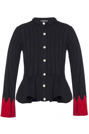 Ribbed sweater with ruffle od Alexander McQueen