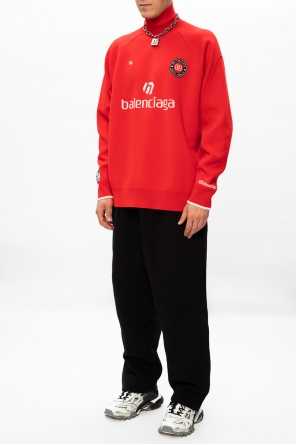 Rib-knit turtleneck sweater with logo od Balenciaga