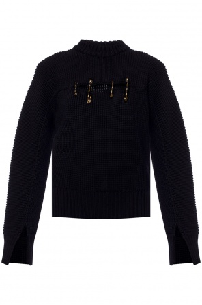 Woven sweater with decorative safety pins od Versace
