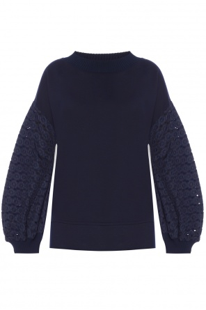 Sweatshirt with openwork sleeves od Moncler