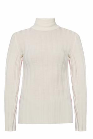 Ribbed sweater with band collar od Marni