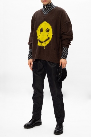 'green smiley' raw edge sweater od MISBHV
