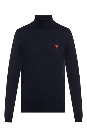 Logo-embroidered turtleneck sweater od Ami Alexandre Mattiussi