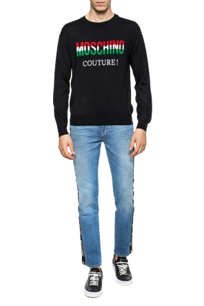 Logo-embroidered wool sweater od Moschino