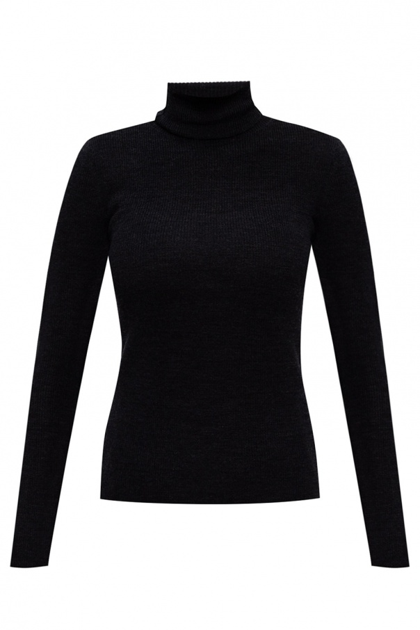 Ganni Wool turtleneck sweater with cut-out