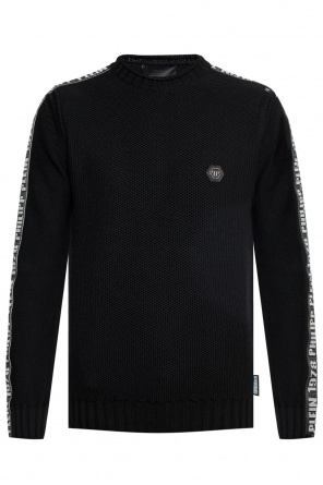 Logo-patched braided sweater od Philipp Plein