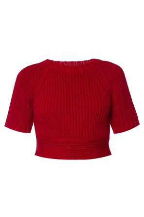 Cropped sweater with vent od Valentino Red