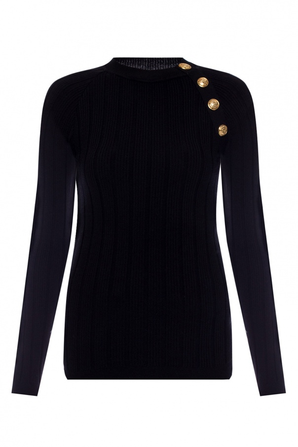 Ribbed crewneck sweater od Balmain