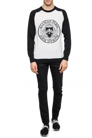 Sweater with embroidered logo od Balmain
