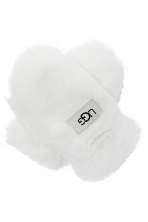 Faux fur gloves with logo od UGG Kids