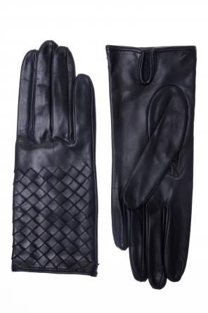 Leather woven gloves od Bottega Veneta