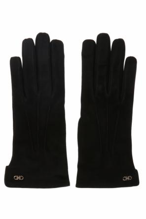 Suede gloves with a logo od Salvatore Ferragamo
