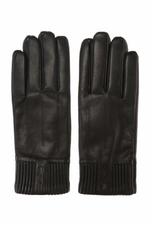 Leather gloves with a logo od Salvatore Ferragamo