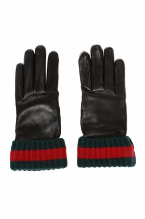 Cashmere trim leather gloves od Gucci
