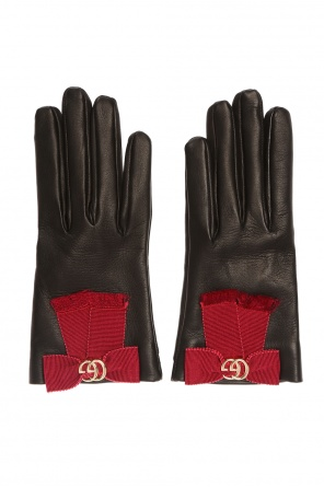 Leather gloves with bows od Gucci