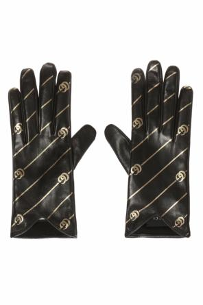 Patterned gloves with logo od Gucci