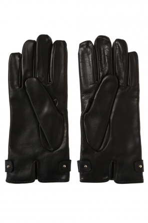 Logo leather gloves od Moschino