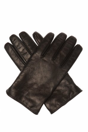 Leather gloves with logo od Emporio Armani
