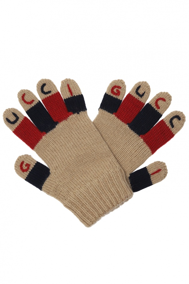 Gucci Kids Wool gloves with logo