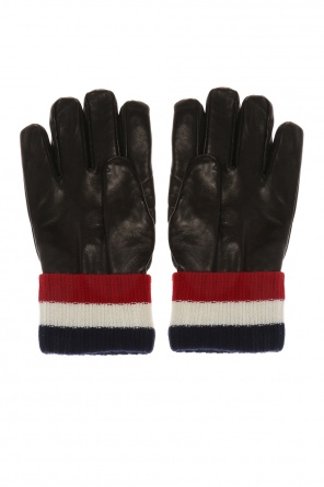 Branded leather gloves od Moncler