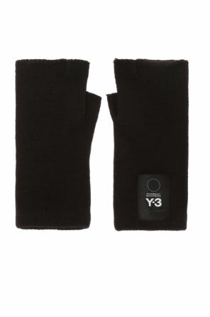 Gloves with a patch and logo od Y-3 Yohji Yamamoto