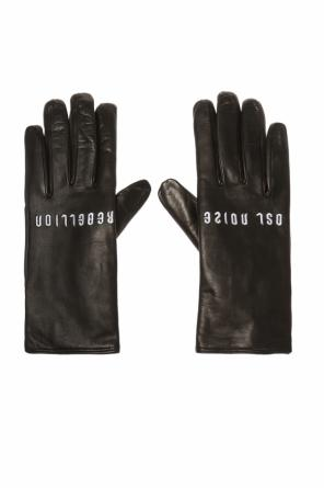 Leather gloves with embroidered pattern od Diesel